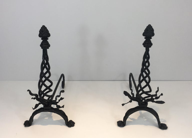 Pair of Twisted Wrought Iron Andirons with Finials, French, circa 1920 For Sale 12