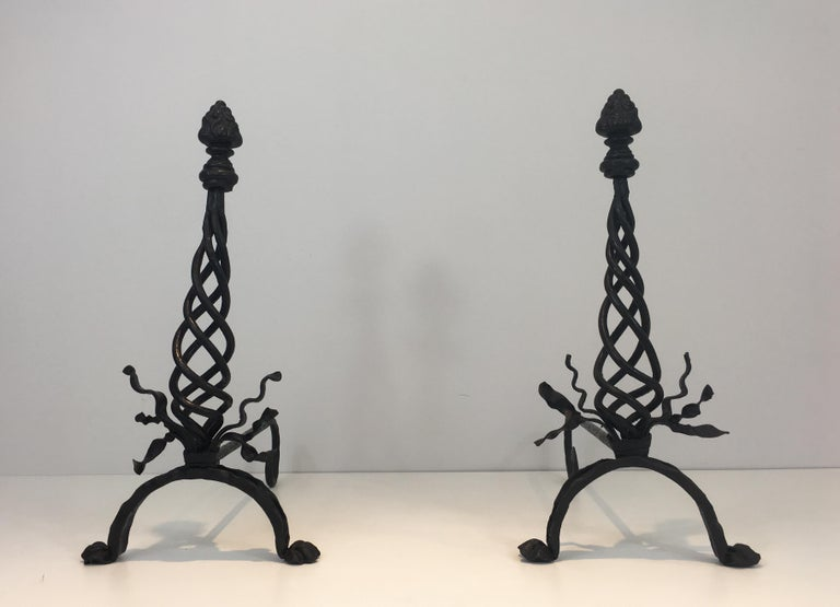 Pair of Twisted Wrought Iron Andirons with Finials, French, circa 1920 For Sale 14