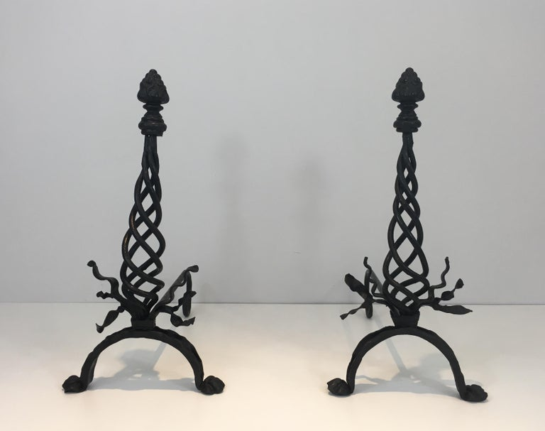 Louis XVI Pair of Twisted Wrought Iron Andirons with Finials, French, circa 1920 For Sale