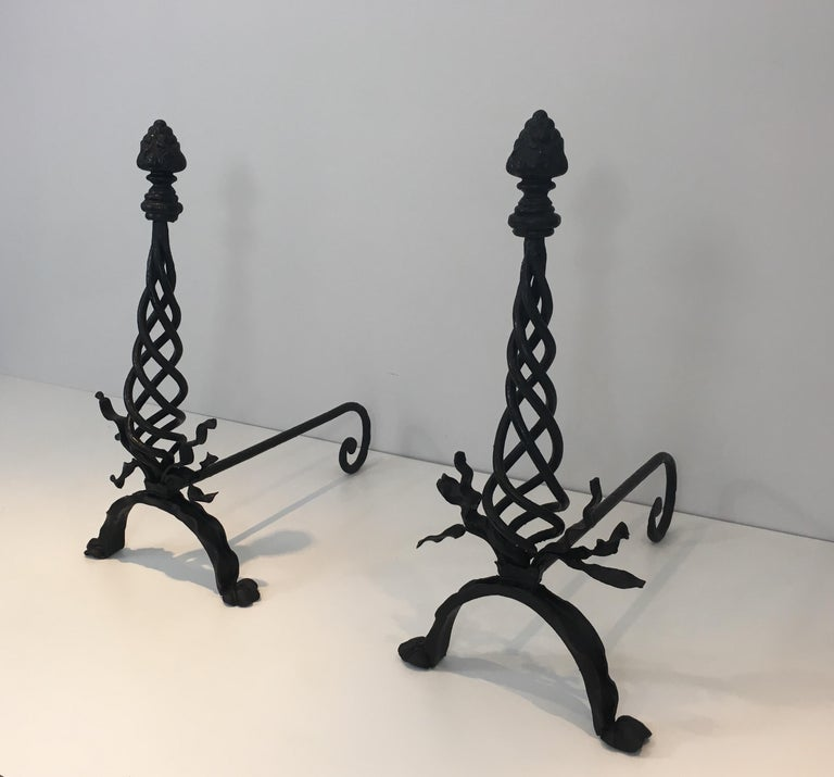 Pair of Twisted Wrought Iron Andirons with Finials, French, circa 1920 In Fair Condition For Sale In Marcq-en-Baroeul, FR