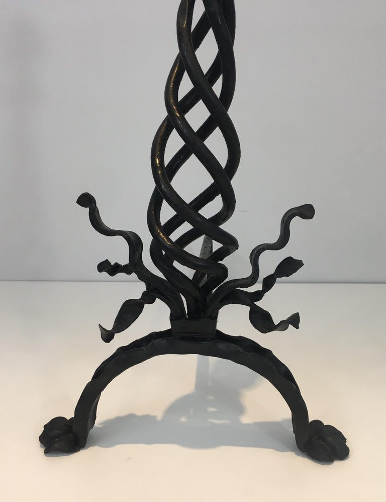 Pair of Twisted Wrought Iron Andirons with Finials, French, circa 1920 For Sale 3