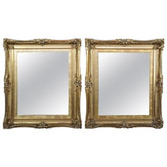 Pair of Two Antique French Gold Wall Hanging Entryway Vanity Mirrors