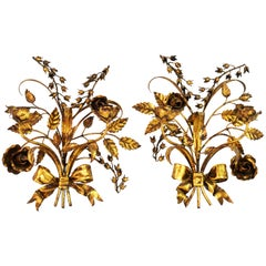 Pair of Two-Arm Midcentury Italian Gilt Tole Flower Sconces with Ribbons