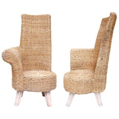 Pair of Two Braided Rope Outdoor Armchairs with One Armrest, circa 1960