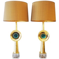 Pair of Two Brass and Glass Lamps, 21st Century, Italy