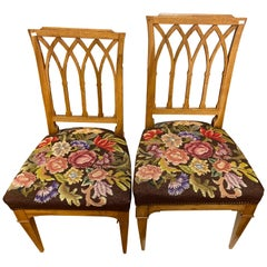 Pair of Two Chairs of Walnut Wood and Tapestry Seats