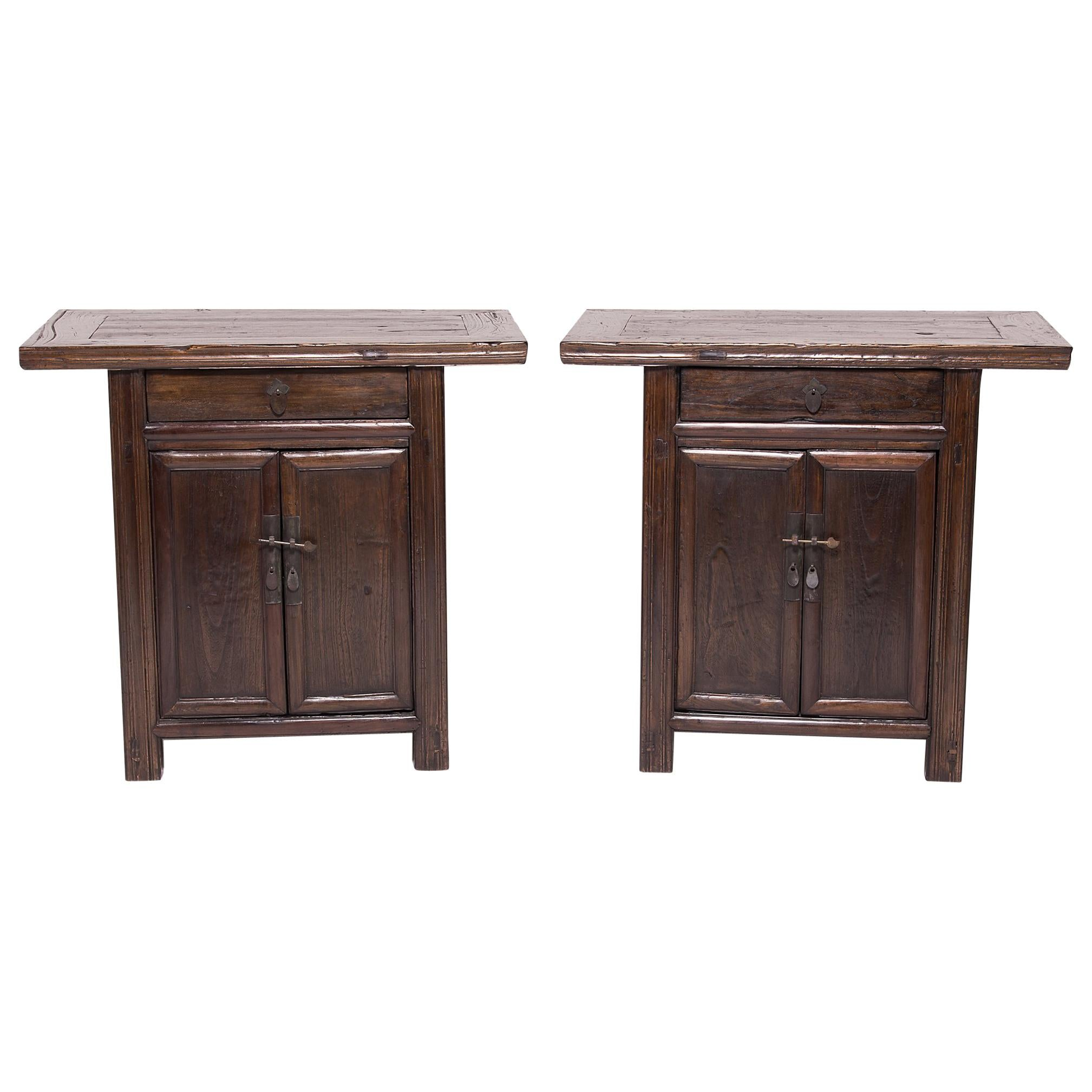 Pair of Chinese Two-Door Chestnut Cabinets, c. 1850