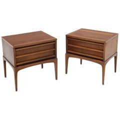 Pair of Two Drawers Walnut End Side Table or Nightstands