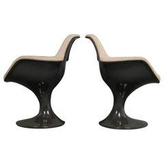 Pair of Two Farner & Grunder Armchairs Orbit for Herman Miller Chair 2x Brown