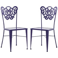 Pair of Two Garden Chairs in Wrought Iron