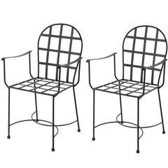 Garden Or Dinning Armchairs in Black Wrought Iron. Indoor & Outdoor