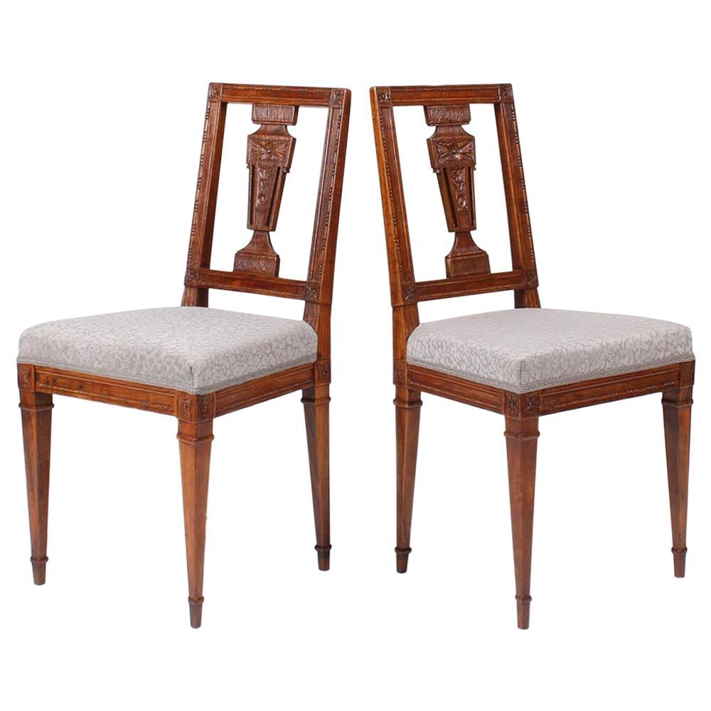 Pair of Two German Louis XVI Chairs, Walnut, Saxonia, Late 18th Century