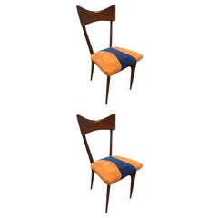 Pair of Two Ico Parisi Dining Chairs for Ariberto Colombo, 1950