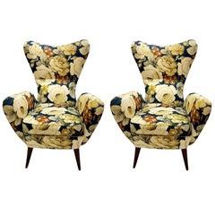 Pair of Two Italian Armchair 1950s, Original Upholstery