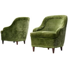Pair of Two Italian Lounge Chairs in Green Velvet Upholstery