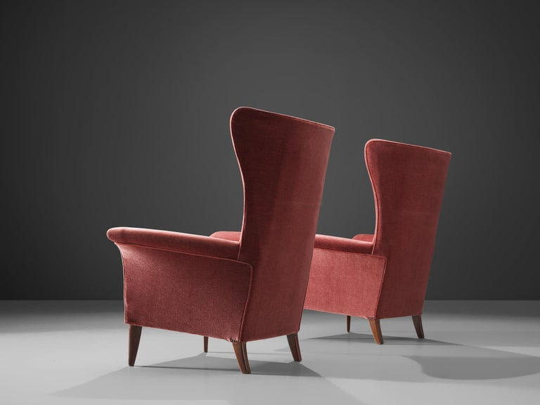 Mid-20th Century Pair of Two Italian Wingback Chairs in Red Velvet Upholstery For Sale