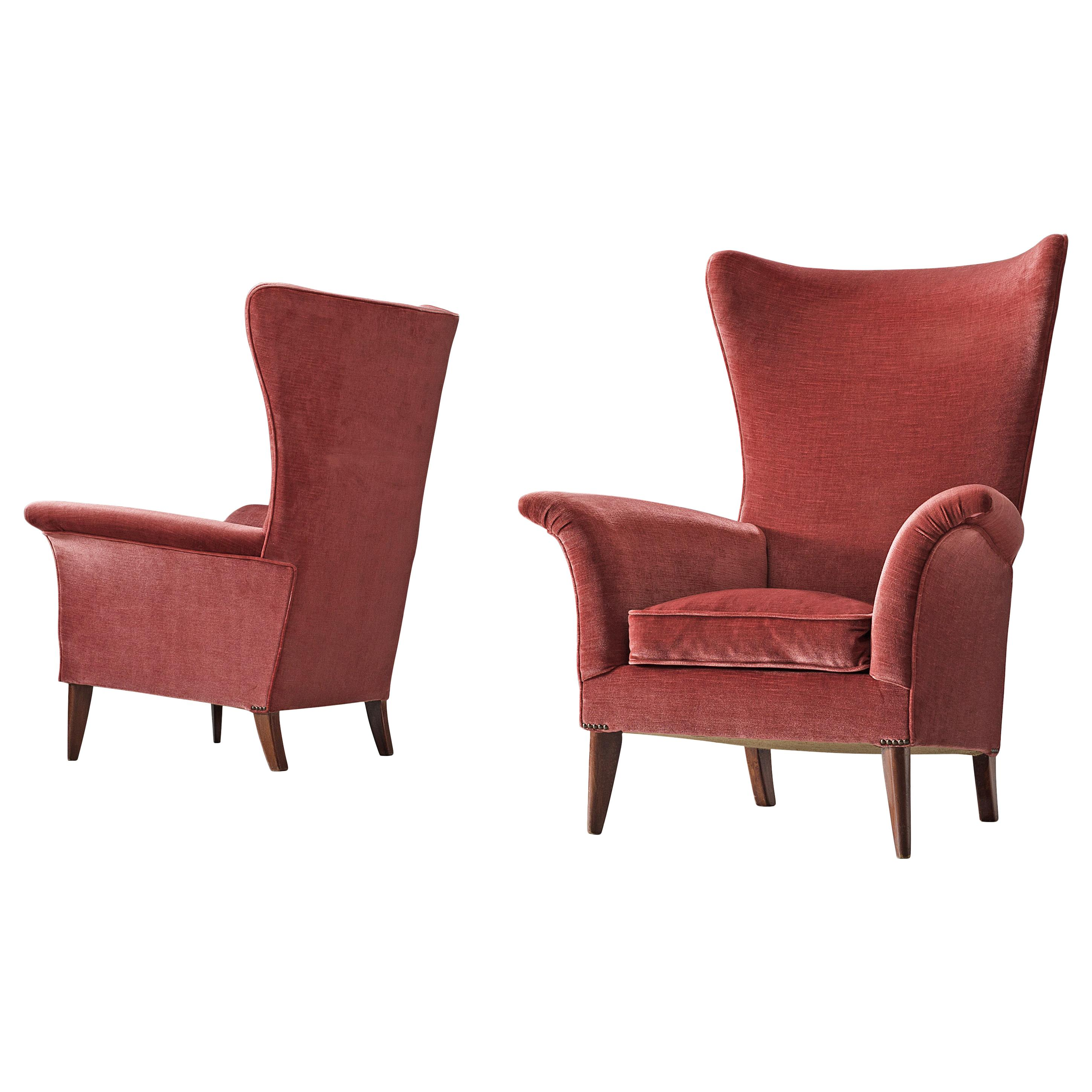 Pair of Two Italian Wingback Chairs in Red Velvet Upholstery