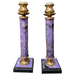 Pair of Two Lapis Lazuli and Brass Candlesticks, Italy, 1970s