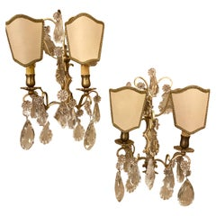 Pair of Two-Light Covered Mixed Crystal and Rock Crystal Bronze Wall Sconces