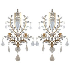 Pair of Two-Light Gilt Bronze Carved Rock Crystal Wall Sconces