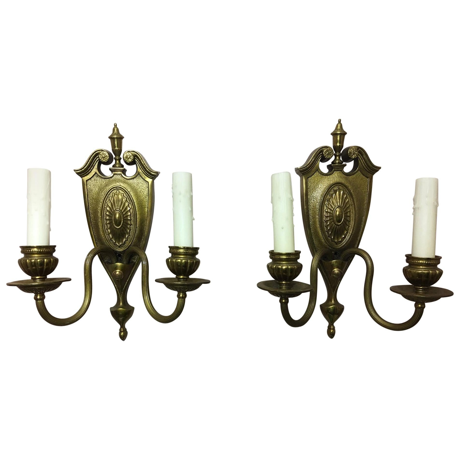 Pair of Two-Light Shield Back Brass Sconces, 20th Century