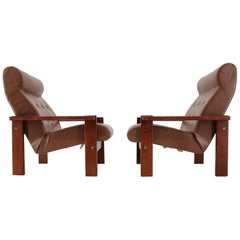 Pair of Two Midcentury Leather Armchairs or Czechoslovakia, 1970s