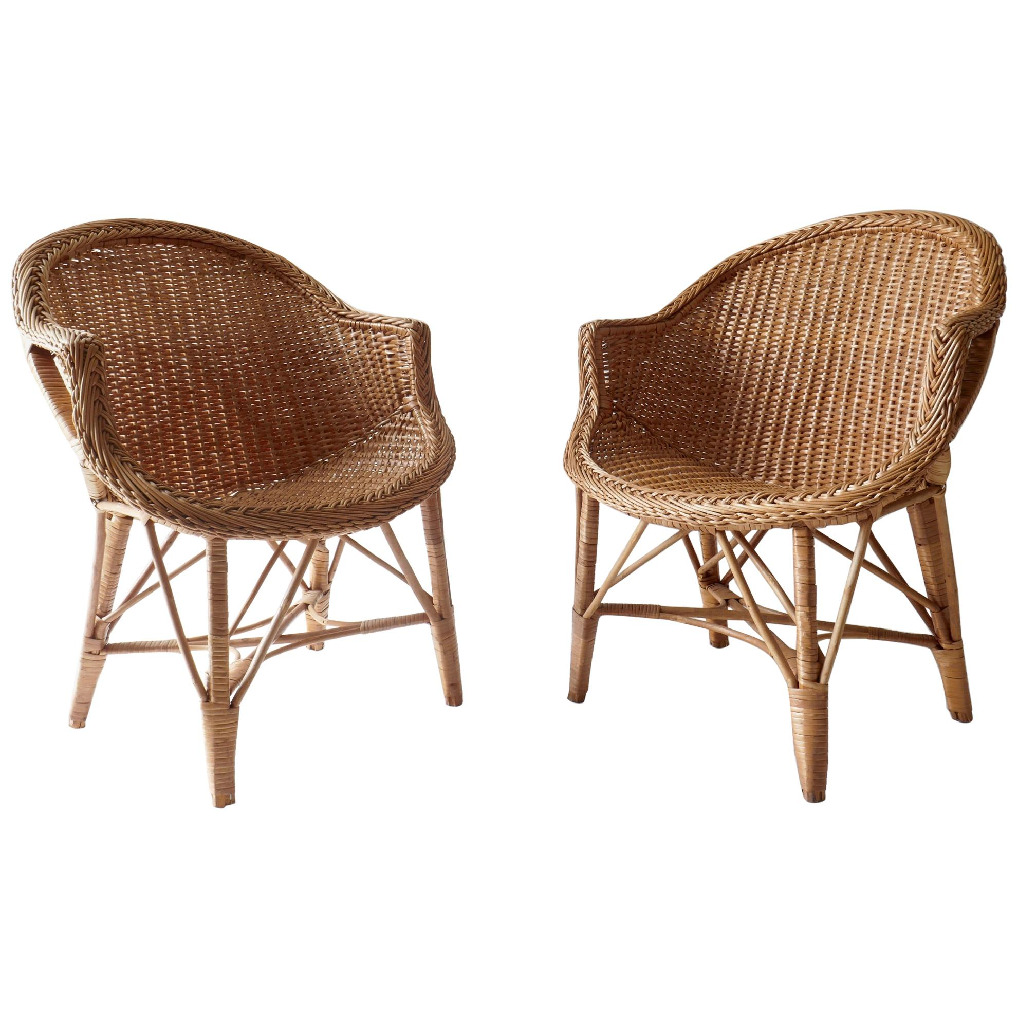 Pair of Two Rattan Chairs, 1960s