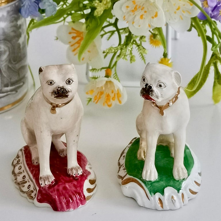 This is a very charming pair of pug dogs, made by Rockingham in about 1835.  Although the Rockingham pottery started some time in the mid-18th century, when we say