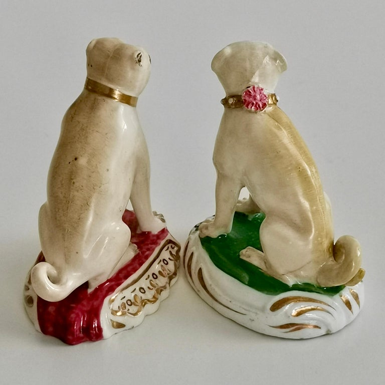 Rococo Revival Pair of Two Rockingham Pug Dogs on Rococo Base, circa 1835 For Sale