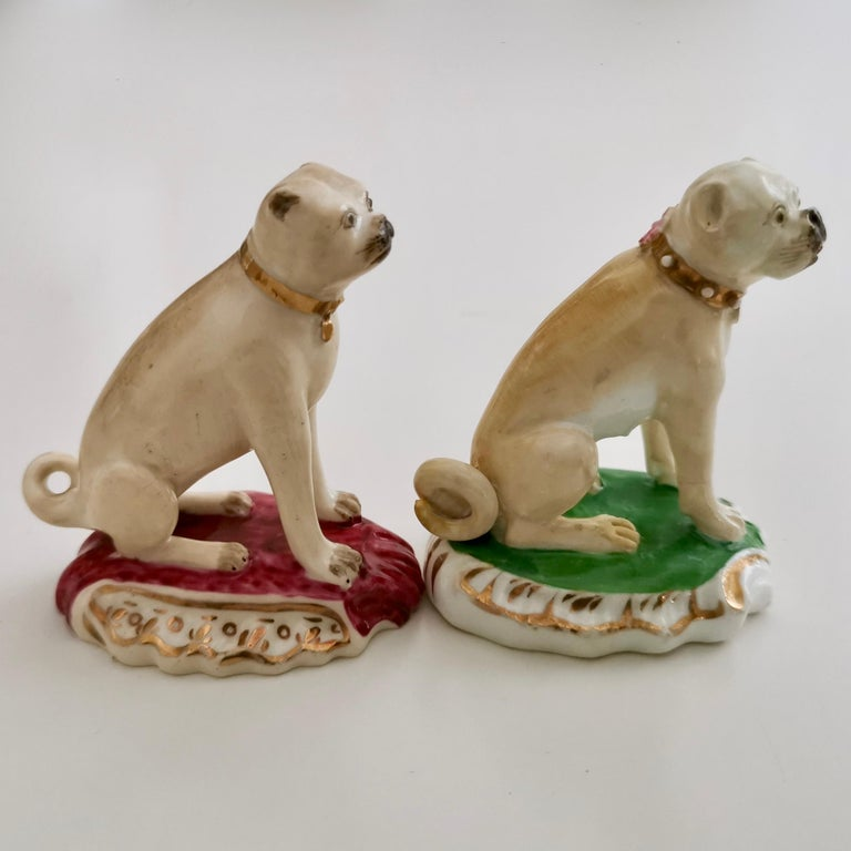 English Pair of Two Rockingham Pug Dogs on Rococo Base, circa 1835 For Sale