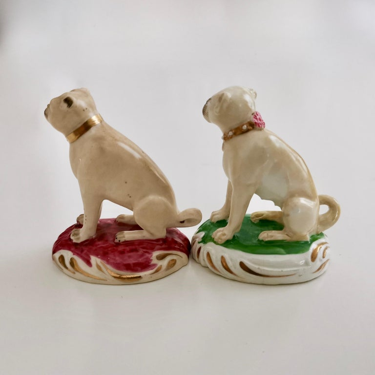 Hand-Painted Pair of Two Rockingham Pug Dogs on Rococo Base, circa 1835 For Sale