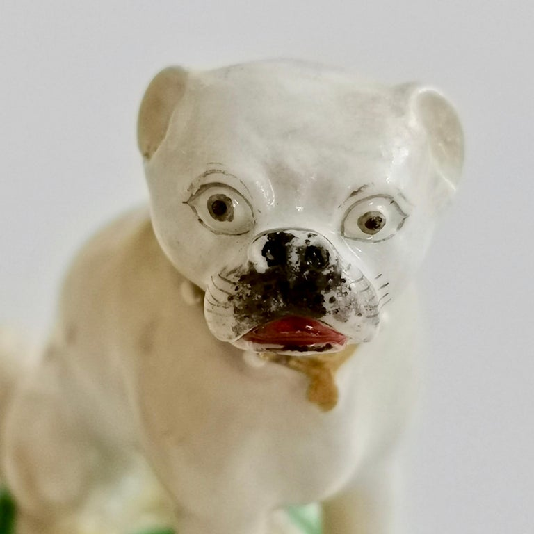 Pair of Two Rockingham Pug Dogs on Rococo Base, circa 1835 In Fair Condition For Sale In London, GB