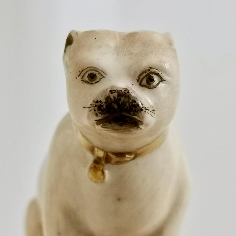 Mid-19th Century Pair of Two Rockingham Pug Dogs on Rococo Base, circa 1835 For Sale