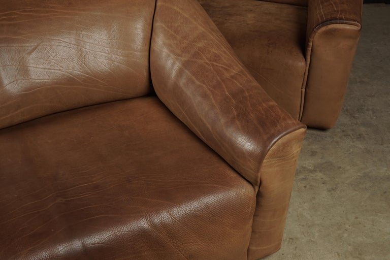 Leather Pair of Two Seat Sofas by De Sede, Switzerland, circa 1960 For Sale