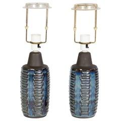Pair of Two Soholm Table Lamps in Blue, Design by Einer Johansen, Denmark 1960s