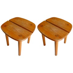 Pair of Two Stools by Pierre Gautier-Delaye Coffee Bean Model, France, 1960s