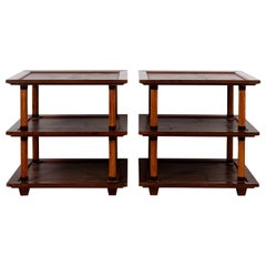 Pair of Two Tier Bamboo Tables