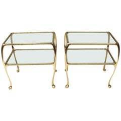 Pair of Two-Tier Brass and Glass Side Tables