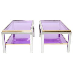 Pair of Two-Tier Brass Chrome End Tables Willy Rizzo Flaminia, 1970s