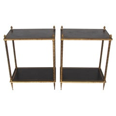Pair of Two-Tier Leather Top and Brass Side Tables