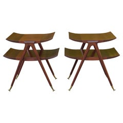 Pair of Two Tier Side Tables in the Style of Ico Parisi