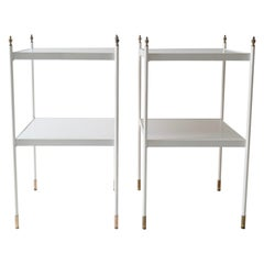 Pair of Two-Tier White Side Tables with Brass Ornaments, 1960s