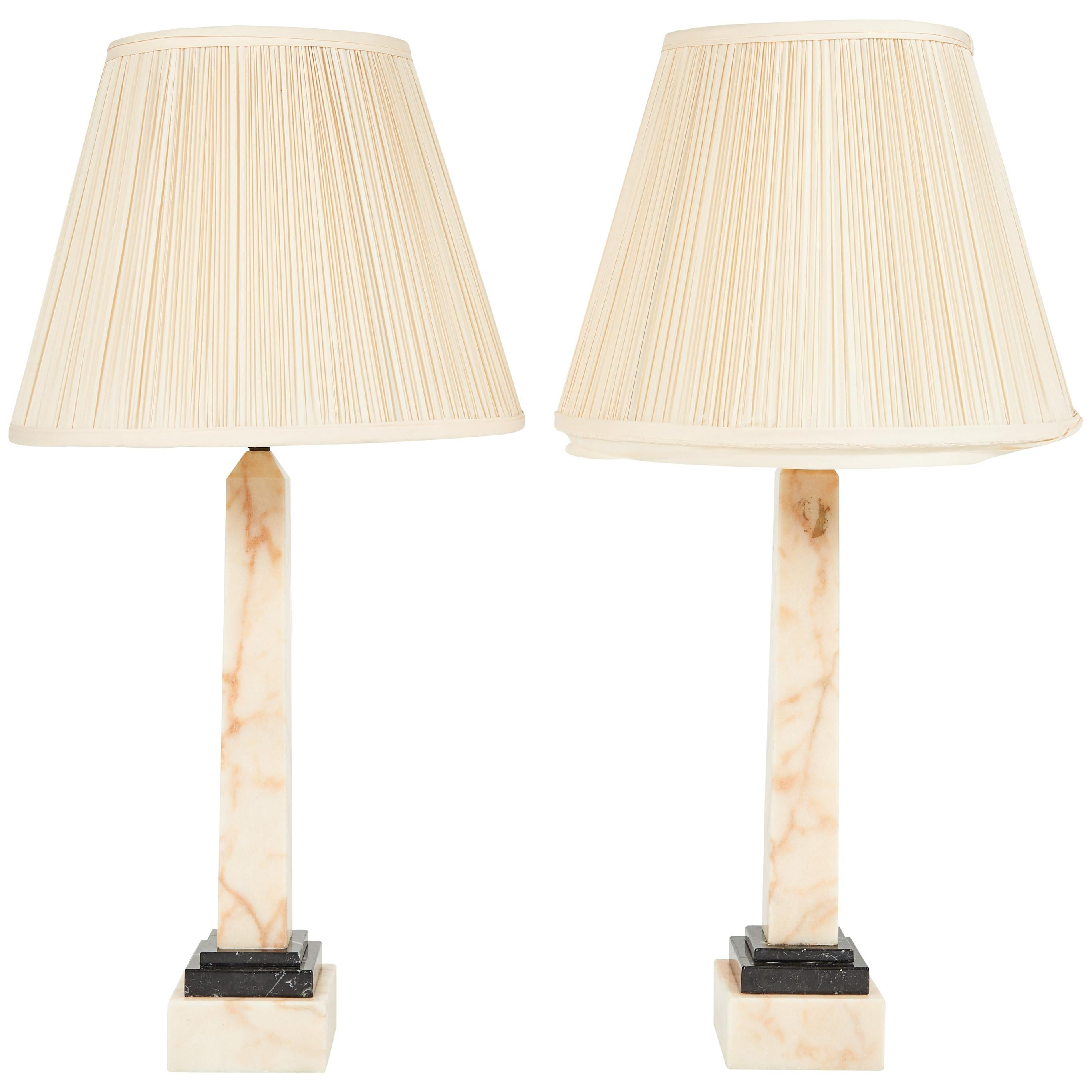 Pair of Two-Toned Marble Obelisk Form Lamps