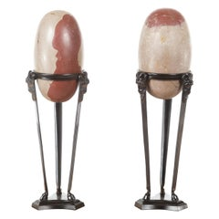 Pair of Two-Toned Stone Shiva Linga from the Narmada River on Custom Stands