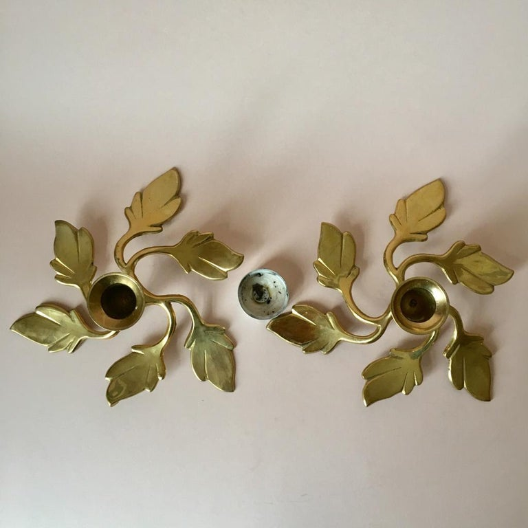 Hollywood Regency Pair of Two Vintage Swedish Brass Leaves Candleholders, 1970s For Sale