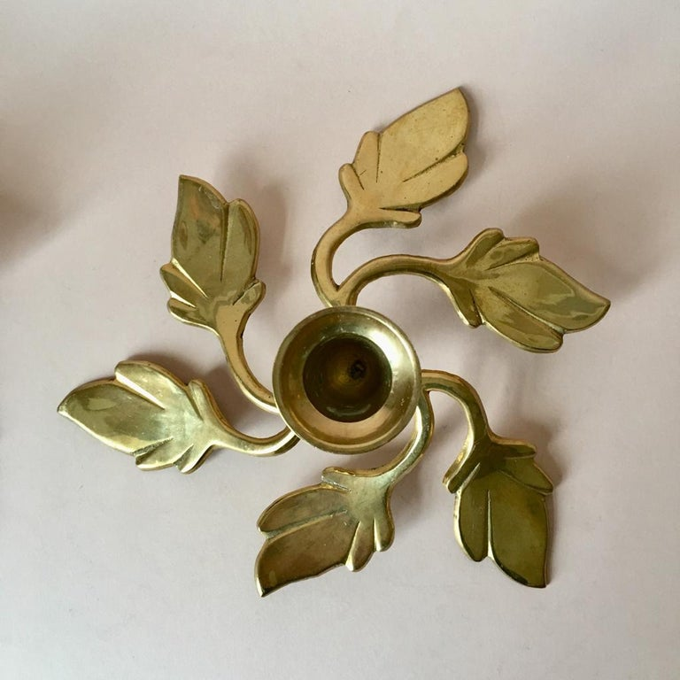 Late 20th Century Pair of Two Vintage Swedish Brass Leaves Candleholders, 1970s For Sale