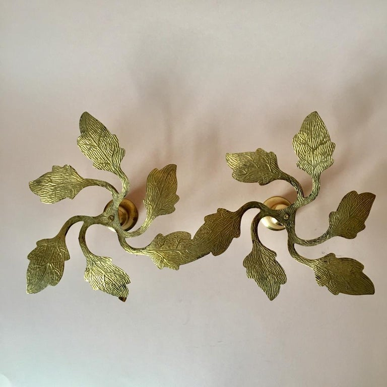 Pair of Two Vintage Swedish Brass Leaves Candleholders, 1970s For Sale 1
