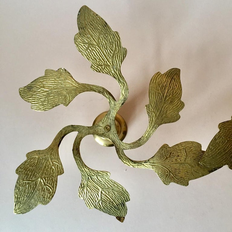 Pair of Two Vintage Swedish Brass Leaves Candleholders, 1970s For Sale 2