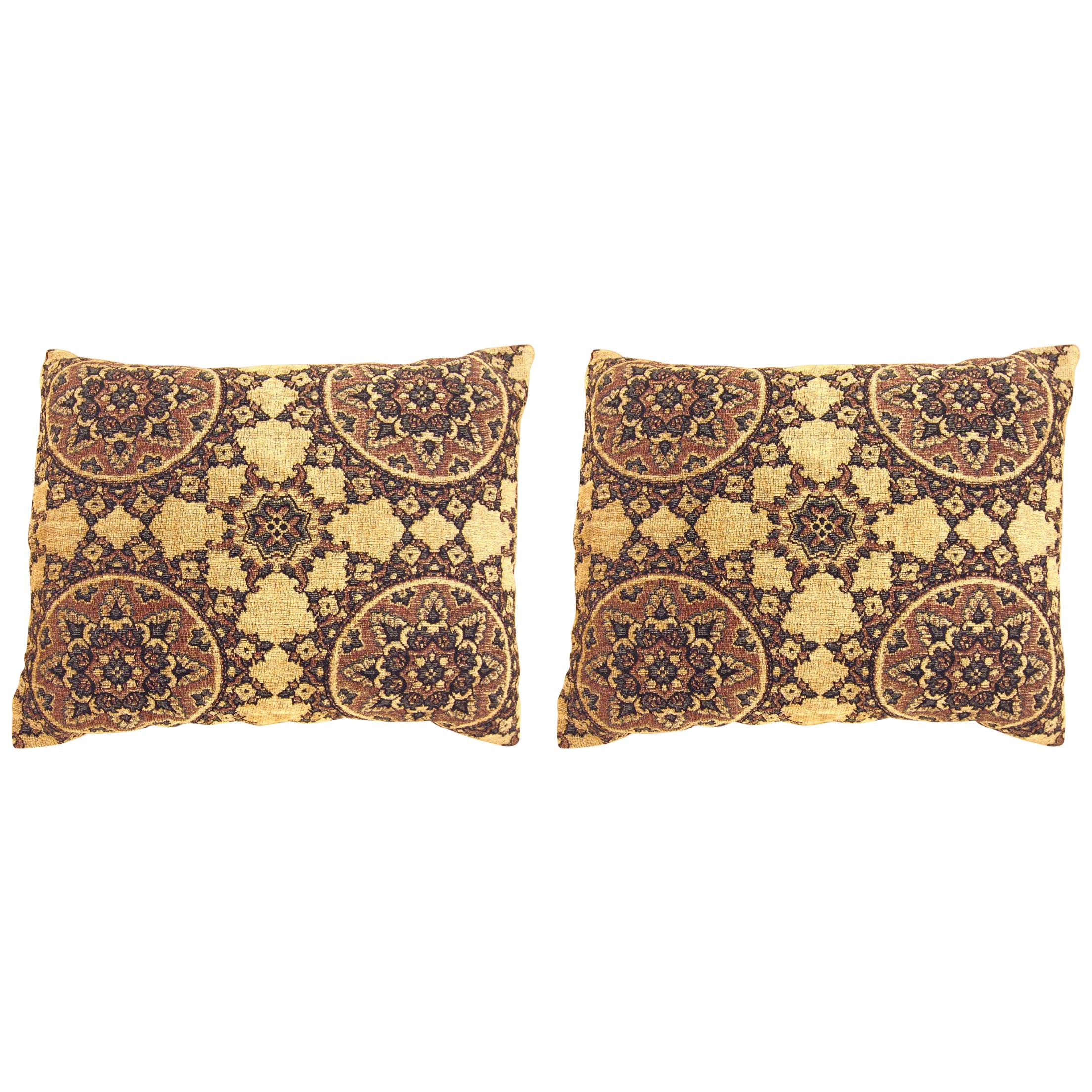 Pair of Two Vintage Tapestry Pillows with Circle Design, with Decorative Brocade