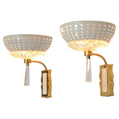 Pair of Two Wall Lights in Brass and Structured Glass